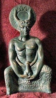 En Gran Bretaña, un aspecto Cerennunos fue nombrado Herne.  El dios con cuernos tiene las características Sátiro-como de Baphomet, junto con su énfasis en el falo.