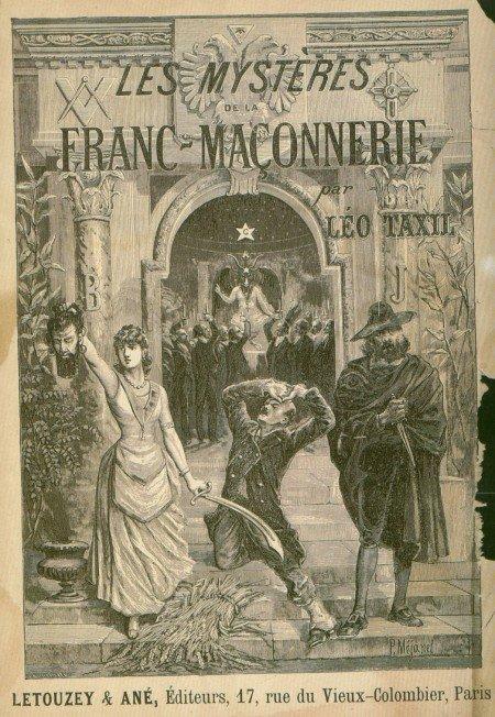 """La cubierta del libro de """"Los misterios de la franco-maçonnerie"""" que representa a un ritual masónico, presidida por Baphomet, que literalmente está siendo adorado."""