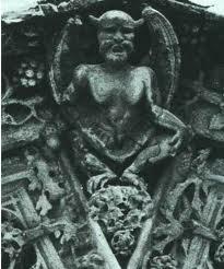 Una figura de Baphomet-como en la catedral de Notre-Dame-de-Paris, que fue originalmente construido por los Caballeros Templarios.