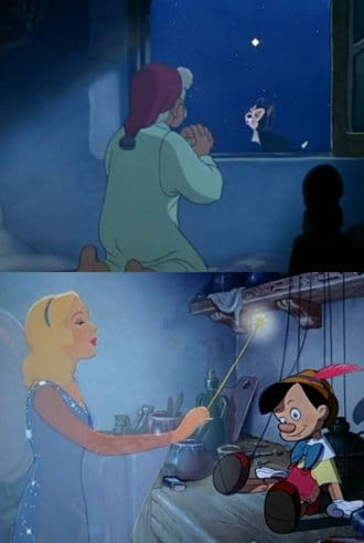 "In Disney's Pinocchio, based on a story written by Freemason Carlo Collodi, Gepetto prays to the brightest star in the sky to have a ""real boy"". The Blue Fairy (her color is a reference to Sirius' light-blue glow) then descends from the heavens to give life to Pinocchio. Throughout the marionette's quest to become a boy (an allegory for esoteric initiation), the Blue Fairy guides Pinocchio towards the ""right path"". Sirius is therefore represented as a source of life, a guide and a teacher. (For more information see the article entitled The Esoteric Interpretation of Pinocchio on The Vigilant Citizen)."