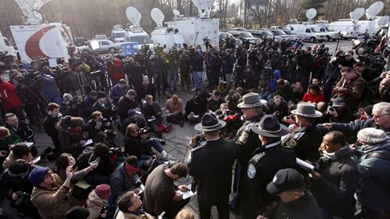 A press conference after the Sandy Hook shooting.