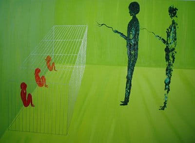 A painting by trauma-based mind control survivor Kim Noble (from the article The World of Mind Control Through the Eyes of an Artist with 13 Alter Personas) depicting a dissociating child locked in a caged and observed by a handler.