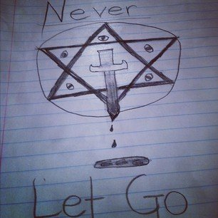 A hexagram with all-seeing eyes and a bloody knife.