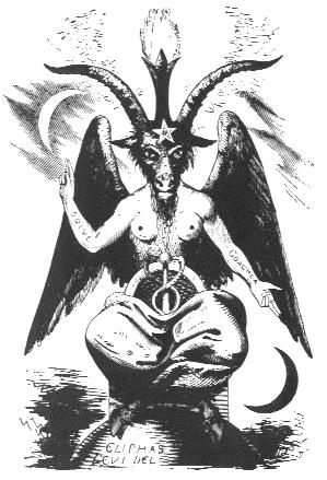 Esta famosa representación de Baphomet representa toda la magia detrás de S - la salida del kundalini (representada por el polo fálica y dos serpientes) a través de la unión de fuerzas opuestas.  La antorcha por encima de la cabeza de cabra representa illuminatation.