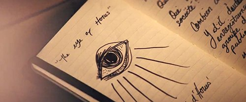 """O pesquisador investigar as origens dos Quatro Cavaleiros e eu puxei isso em seu bloco de notas e escreveu sobre ele """"Olho de Horus""""."""