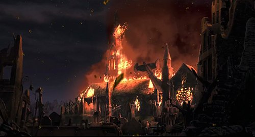 At one point, 1's Cathedral is attacked by one-eyed robots and burns down, forcing the group to hide in the library instead. Difficult to find a more telling image representing the fall of religions at the brink of this new era.
