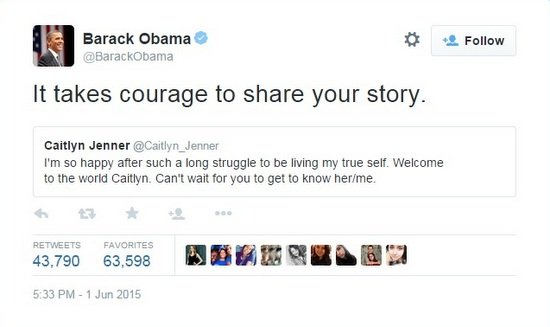 The President of the United States praising the courage of Jenner.