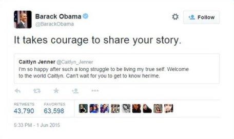 Le président des États-Unis en louant le courage de Jenner.