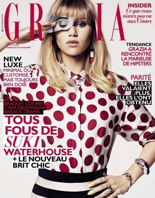 Of course, the One-Eye sign appeared in prominenent places around the world, including several magazine covers in the past month. Here's Suki Waterhouse on the cover of Grazia.