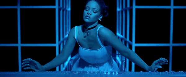 When Rihanna touches the mixing board, she starts moves uncontrollibly, as if she was possessed by another being. That music appears to be infused with something powerful.