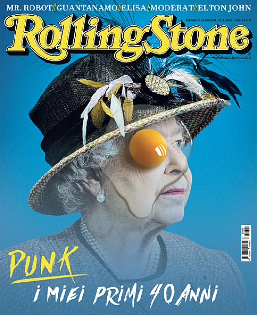 """Queen Elizabeth II on the cover of Rolling Stone magazine with an egg yolk covering one eye. Is this """"punk""""? Or a mainstream magazine telling you what the Queen is truly about?"""