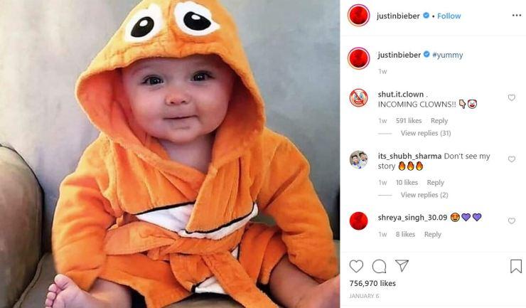 """¿Por qué Justin Bieber Tagging Babies es """"Yummy"""" en Instagram?  La respuesta es repugnante."""