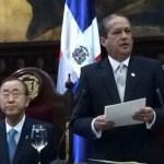 Reinaldo Pared Pérez, presidente del Senado pronuncia su discurso ante el secretario general de las Naciones Unidas, Ban Ki-moon,