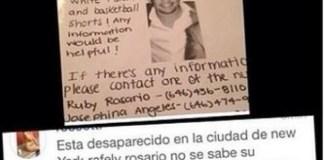 Rafely Rosario en las redes sociales dado por desaparecido