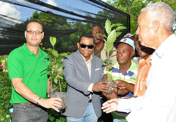 Demetrio LLuberes Vizcaíno, Administrador de EGEHID, momento en que entrega una planta a uno de los beneficiarios. Le acompaña Luis Alberto Marte, Gerente de Medio Ambiente.