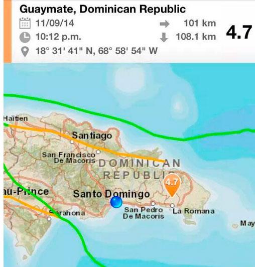 Ubicación del temblor