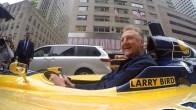 Larry Bird riding down Manhattan in an IndyCar. [Photo: PS&E]