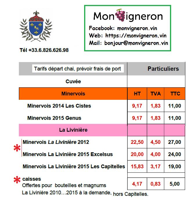 tarifs CHAI monvigneron 2017