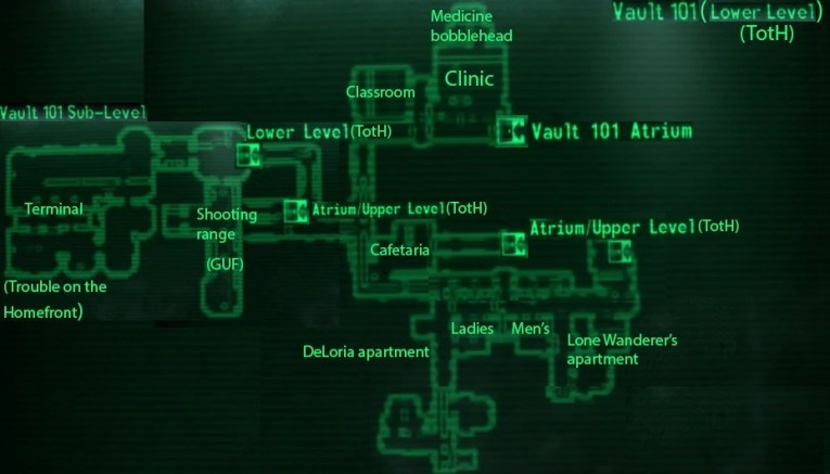 Image   Vault 101  lower level  loc map jpg   Fallout Wiki   FANDOM     Vault 101  lower level  loc map jpg
