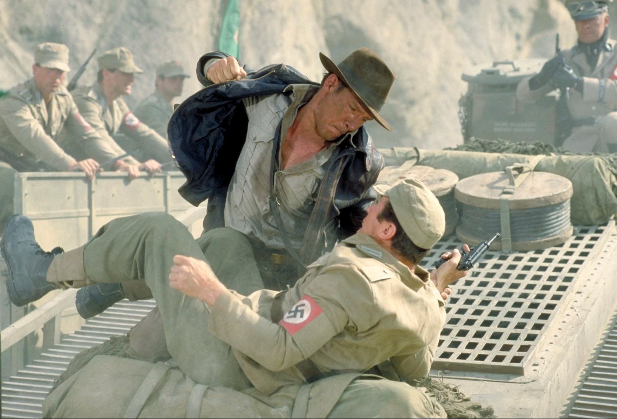 Indiana Jones fistfight on speeding tank