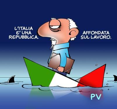 """I nostri vignettisti si accaniscono sullo stesso concetto: l'Italia è una Repubblica fondata sul lavoro. Immagino che sia perché è la premessa, il punto di partenza da cui il resto deriva, vale a dire che l'Italia è cosa pubblica, appartiene ai cittadini, non a questo o quel sovrano, ma proprio a tutti. E siccome i Padri e le Madri costituenti erano dei gran pignoli e ci tenevano a mettere le mani avanti, acciocché non vi fossero dubbi, ci hanno tenuto a precisare """"fondata sul lavoro"""": un modo magistrale per far intendere bene che il fondamento dello Stato risiede non in beni materiali o privilegi di sorta, ma nell'impegno costruttivo di tutti e di ciascuno. I vignettisti perciò si indignano nel veder calpestato questo fondamentale principio. Così Pietro Vanessi"""