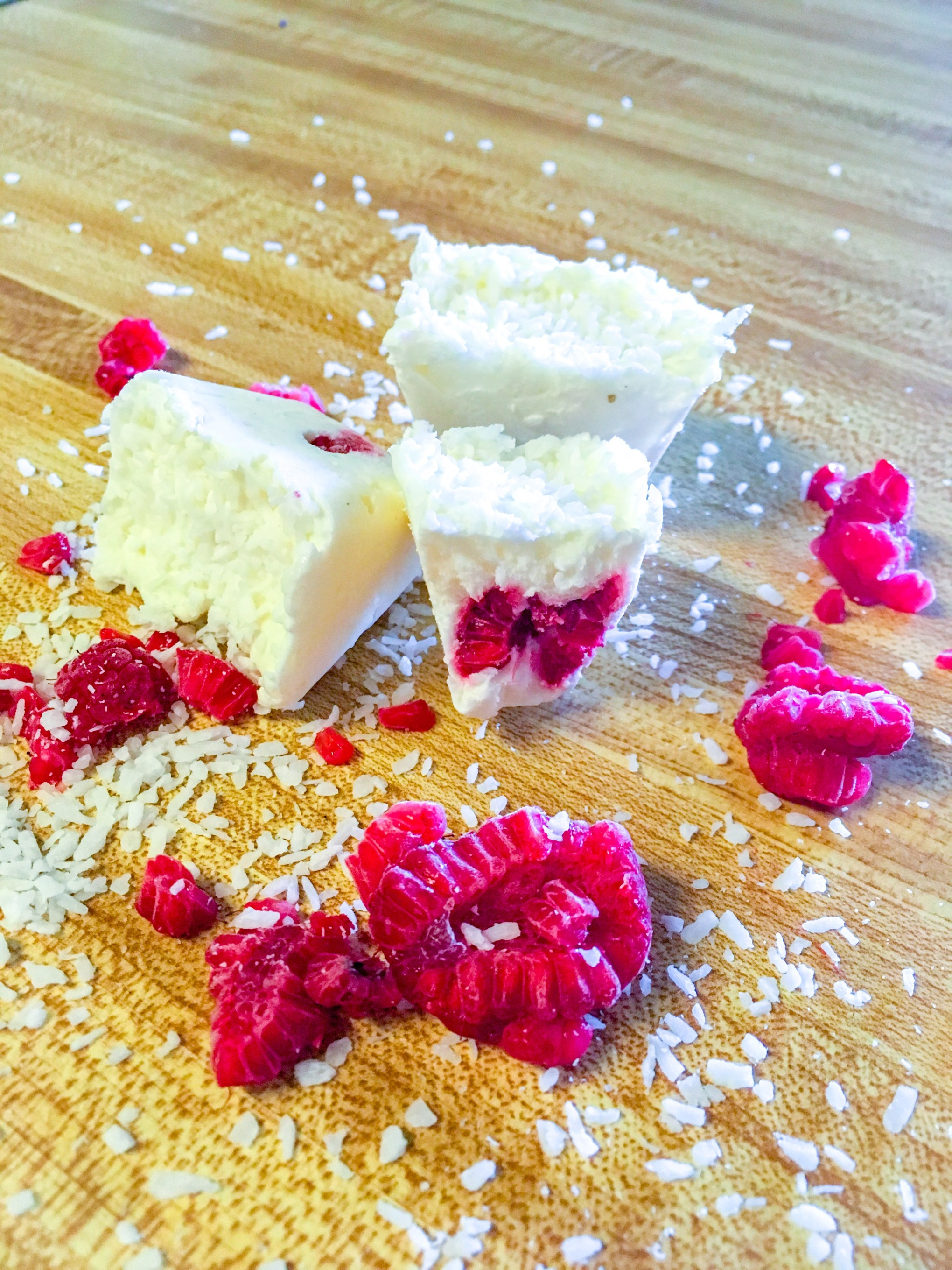 Coconut Cream Cheese Fat Bombs with Raspberries