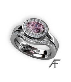 oval haloring med rosa turmalin