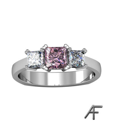 2 st prinsess slipade diamanter samt rosa spinell