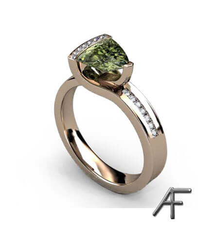 vigselring trilliantslipad grön safir med diamanter