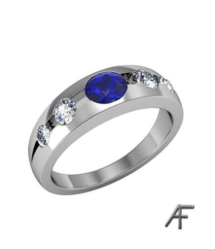 lordringsallians med blå safir och diamanter