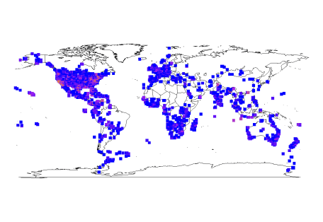 mapgrid output for iNaturalist data