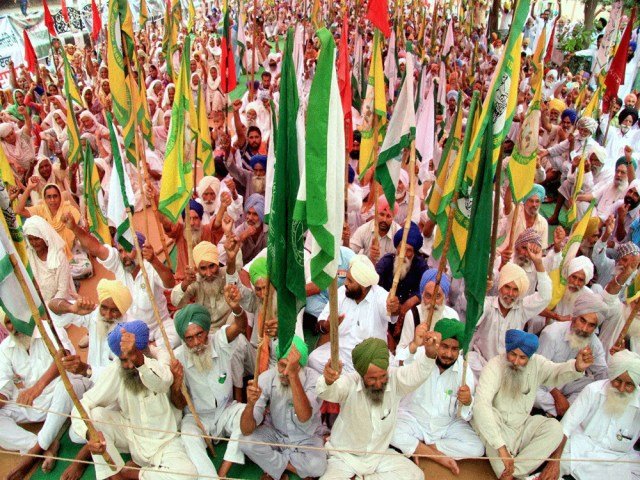 Farmers of Malwa region of Punjab stag a dharna in front of the circuit house at Bathinda to press for the compensation of the cotton crop damaged due to white fly