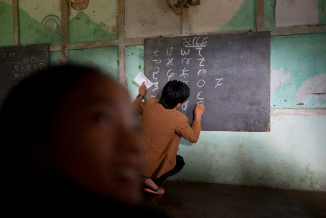 Lepcha night school in Pachoak, Kalimpong, West Bengal