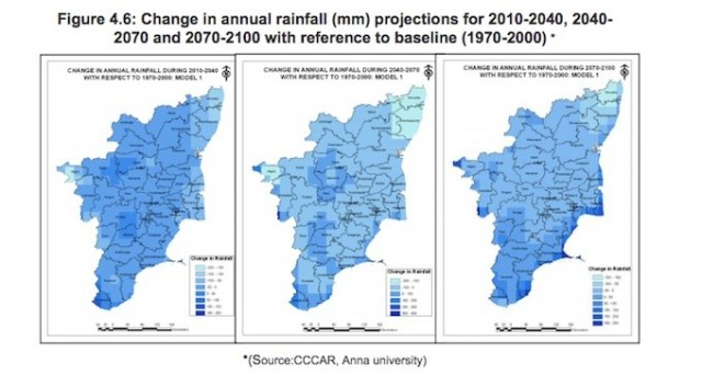 Projections on rainfall pattern change in Tamil Nadu till 2100. The Nilgiris are set to receive higher annual average rainfall in the coming decades
