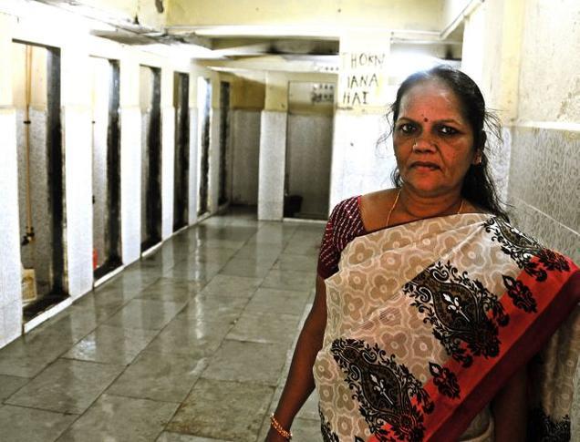 Shanti Shinde maintains the toilet in Agarwal Wadi in Mumbai.