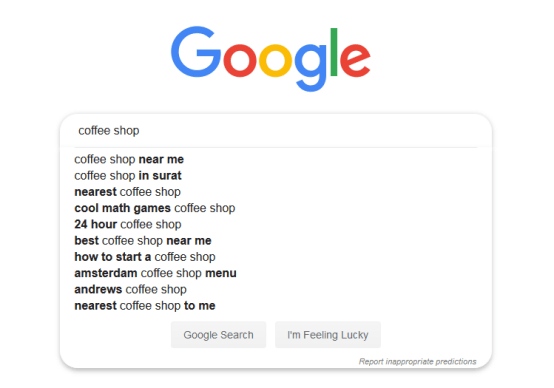 Google Search for Coffee Shop with space before Coffee
