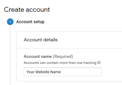 GA Create Account