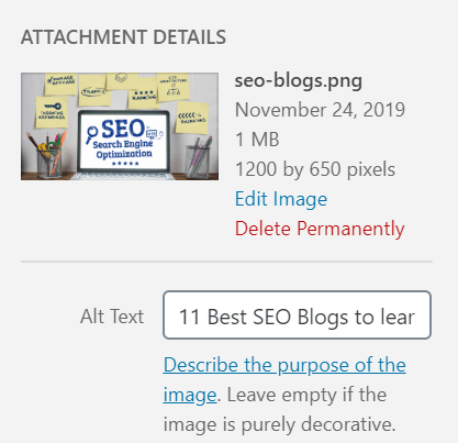 WordPress Alt Text setup in image