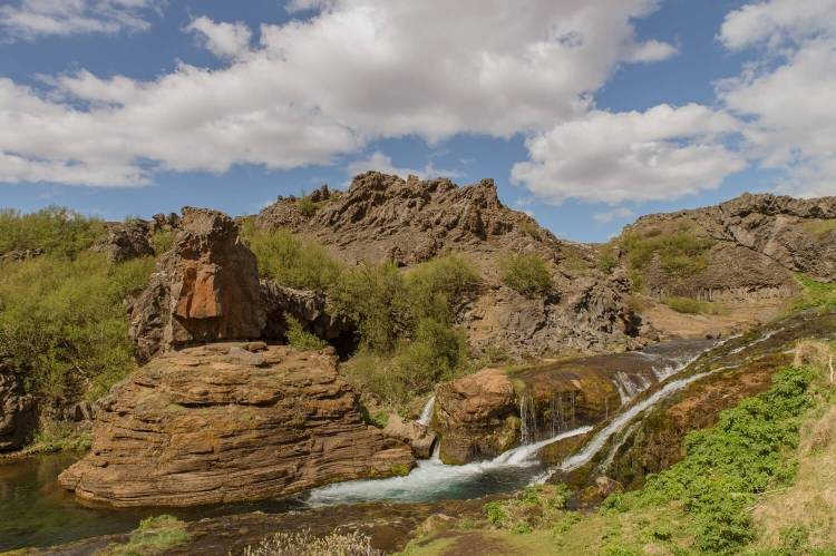 Gjian Waterfall in South Central Iceland