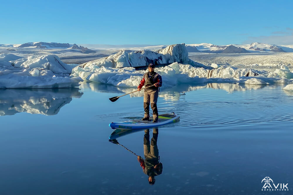 SUP on Glacier Lagoon in Iceland