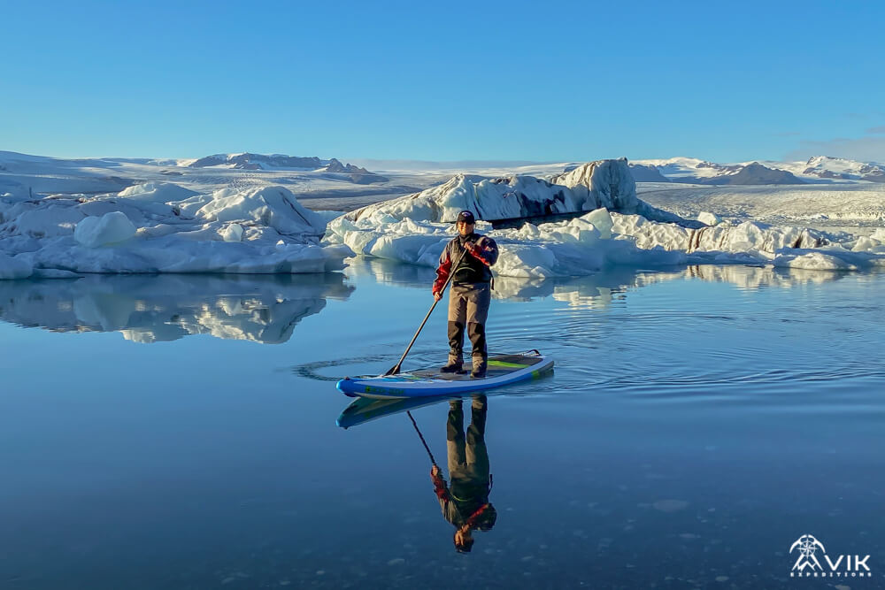 Iceland SUP on a glacier lagoon