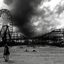 Storm approaches the Daytona Beach Boardwalk, Daytona Beach, FL