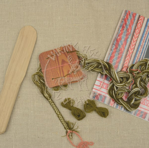 Kit for tablet weave from Kaupang - olive and dark olive