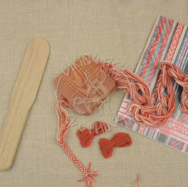 Kit for tablet weave from Kaupang - red and apricot