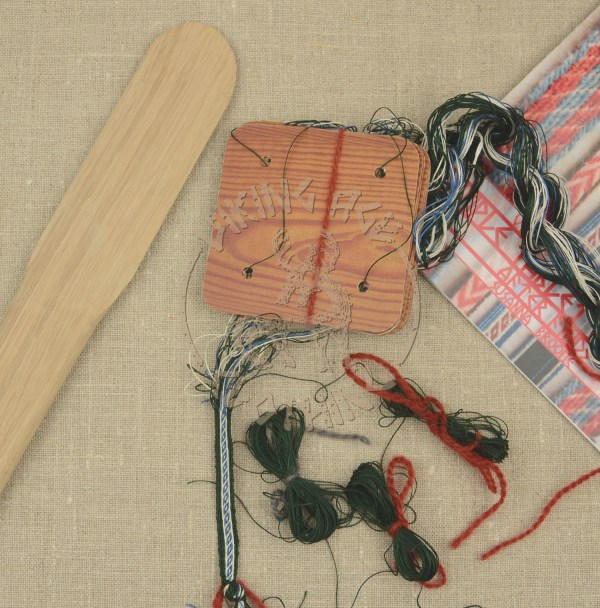 Kit for tablet weave from Oseberg - blue and green