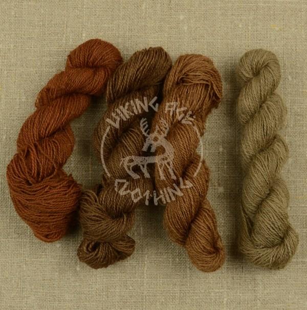 Plant-dyed Mora redgarn - madder brown, dark walnut brown, walnut brown and walnut beige