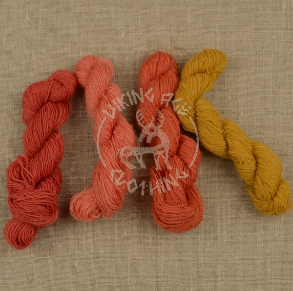 Plant-dyed 20/2 worsted - light madder red, madder apricot, orange and weld yellow