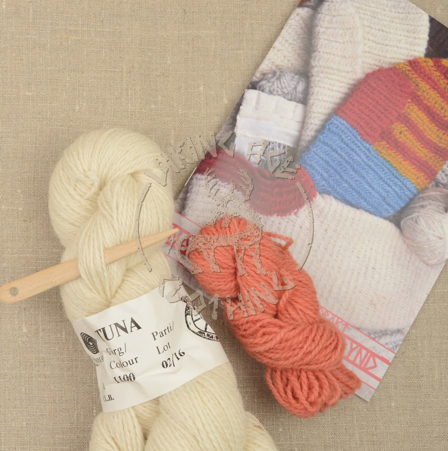 Kits for plant-dyed nalbound socks from York, contents