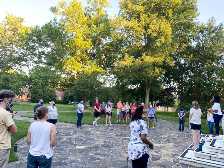 Students attend a Black Lives Matter vigil at Berry