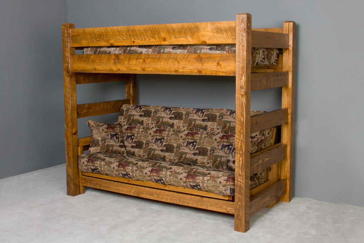 Barnwood Twin Futon Bunk Bed Viking Log Furniture